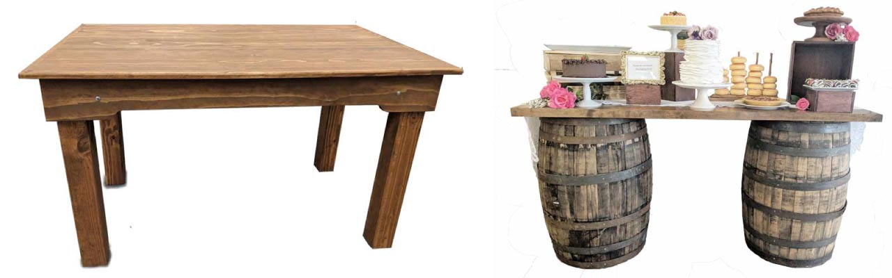 Wooden tables for rustic theme